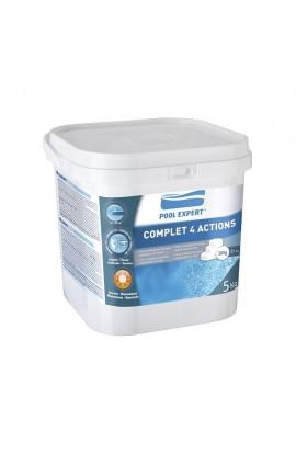 Complet 4 actiuni: clor, anti-alge, floculant si stabilizator.